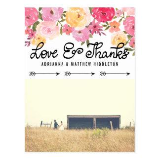 Watercolor-Blumenhochzeits-Liebe und Dank-Foto Postkarten