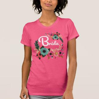 Watercolor-BlumenJunggeselinnen-Abschieds-Braut-T T-Shirt