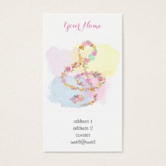 Watercolor-Blumenmusik dreifacher Clef Visitenkarte