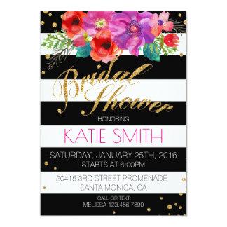 Watercolor-Blumenstreifen-Glitter-Brautparty Karte