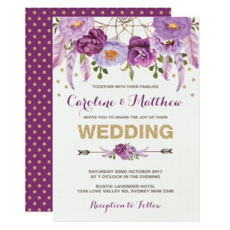 Watercolor Boho lila Blumenhochzeits-Einladung Karte