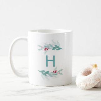 Watercolor-botanische Eleganz-Monogramm-Tasse Kaffeetasse