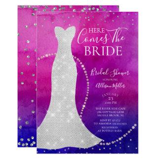 Watercolor-Braut-Brautparty-Einladung Karte