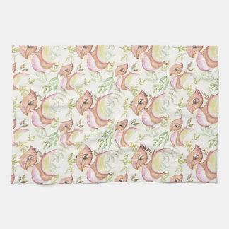 Watercolor-Brown-Dinosaurier-Hand gezeichnete Handtuch