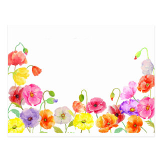 Watercolor-bunte Mohnblumen-Blumen Postkarte