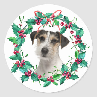 Watercolor Christmas Holly Wreath Holiday Photo Runder Aufkleber