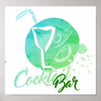 Watercolor-Cocktail-Bar-Plakat Poster