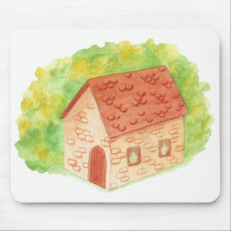 Watercolor-Cozy Hütte Mousepads