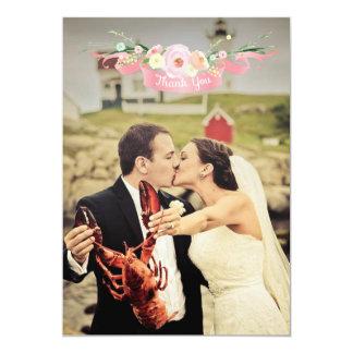 Watercolor-danken Blumenhochzeits-Foto Ihnen 12,7 X 17,8 Cm Einladungskarte