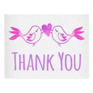 Watercolor danken Ihnen die Lovebirds lila, rosa Postkarte
