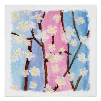 Watercolor, der Kirschblüte-Blumen malt Poster