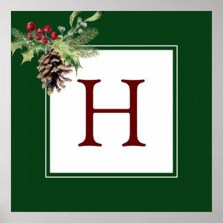 Watercolor des Weihnachten| - Vintage Stechpalme Poster