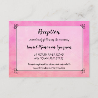 Watercolor Simply Pink Wedding Reception Detail
