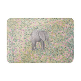 Watercolor-Elefant-Blumen-GoldGlitter Badematten