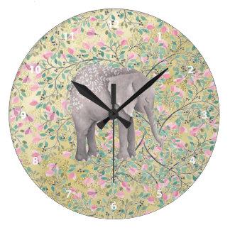 Watercolor-Elefant-Blumen-GoldGlitter Große Wanduhr