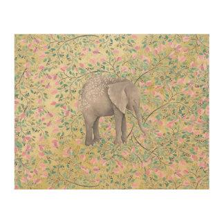 Watercolor-Elefant-Blumen-GoldGlitter Holzdruck