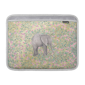 Watercolor-Elefant-Blumen-GoldGlitter MacBook Sleeve