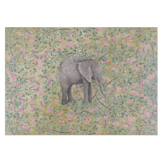 Watercolor-Elefant-Blumen-GoldGlitter Schneidebrett