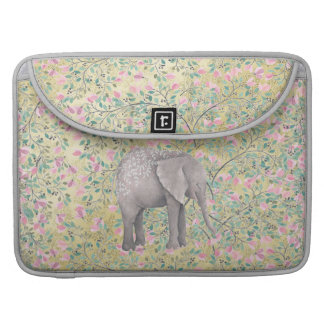 Watercolor-Elefant-Blumen-GoldGlitter Sleeve Für MacBook Pro