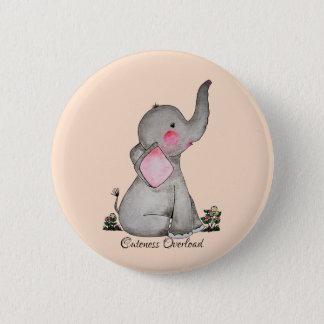 Watercolor-erröten niedlicher Baby-Elefant mit u. Runder Button 5,7 Cm