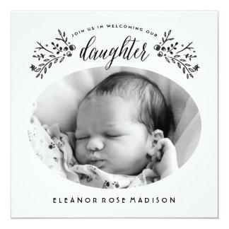 Watercolor-Foto-Baby-Mädchen-Geburts-Mitteilung Karte