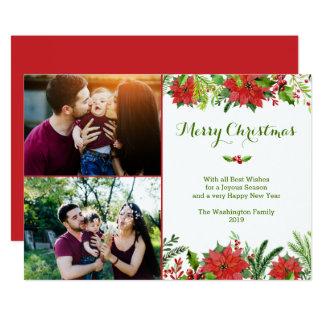 Watercolor-Foto Poinsettia des Weihnachtsfeiertags 12,7 X 17,8 Cm Einladungskarte