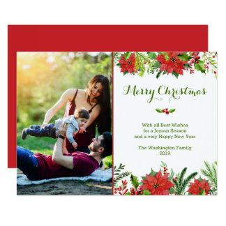 Watercolor-Foto Poinsettia des Weihnachtsfeiertags Karte