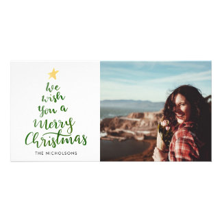 Watercolor-frohe Weihnacht-Grün-Typografie-Foto Karte