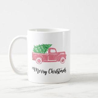 Watercolor-frohe Weihnacht-LKW mit der Baum-Tasse Kaffeetasse