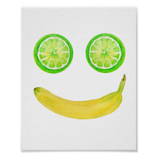 Watercolor-Frucht-Smiley Poster