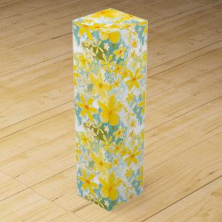 Watercolor-gelbe Blumen Wein-Geschenkverpackung