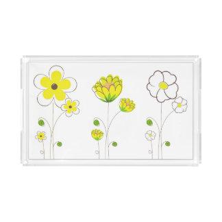 Watercolor-gelber Blumen-Behälter Acryl Tablett