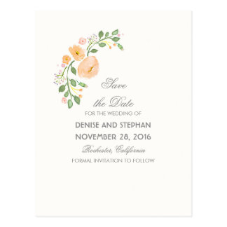 Watercolor gemalte Blumen romantisch Save the Date Postkarte