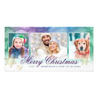 Watercolor-Goldschneeflocke-frohe Weihnacht-Foto Karte