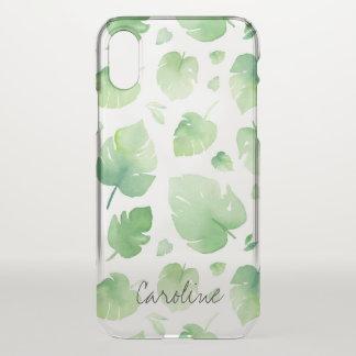 Watercolor-Grün-Blätter. Addieren Sie Namen oder iPhone X Hülle
