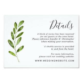 Watercolor-Grün verlässt Hochzeits-Einzelkarte Karte