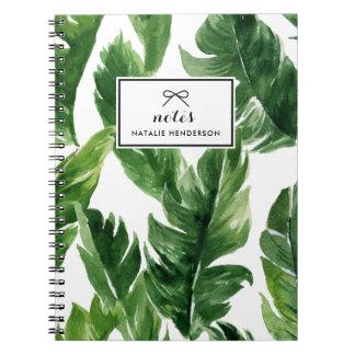Watercolor-grünes tropisches Blätter-Muster Notizblock