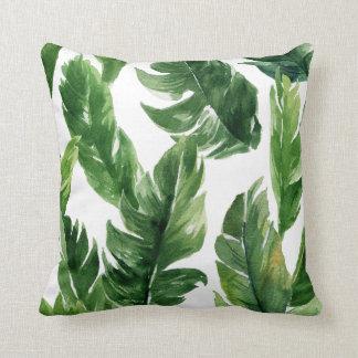 Watercolor-grünes tropisches Blätter-Muster Zierkissen