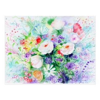 Watercolor-gute Stimmungs-Blumen Postkarte