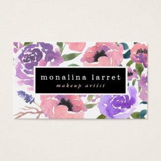 Watercolor-helles rosa lila Blumenbündel Visitenkarte