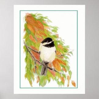 Watercolor-Herbstchickadee-Vogel-Herbstlaub Poster