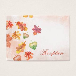 Watercolor-Herbstlaub-Hochzeit im Herbsts-Empfang Visitenkarte