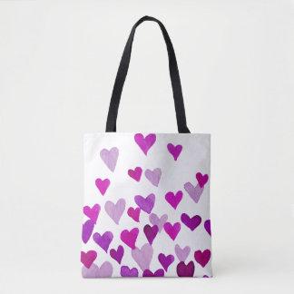 Watercolor-Herzen des Valentines Tages- lila Tasche