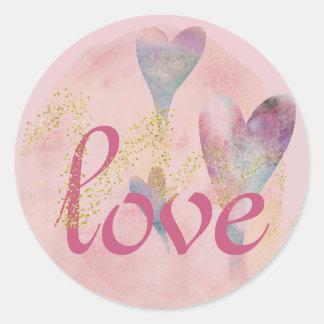 Watercolor-Herzen im Rosa inspirieren Liebe Runder Aufkleber