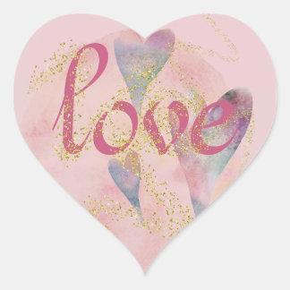 Watercolor-Herzen u. Liebe Herz-Aufkleber