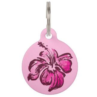 Watercolor-Hibiskus-hawaiisches tropisches Haustiermarke