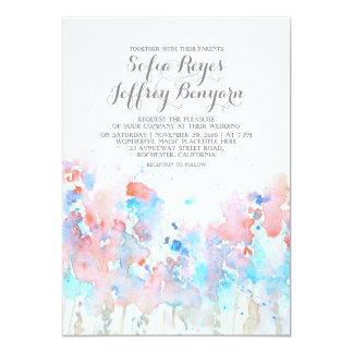 Watercolor-Hochzeits-Einladungen - blaue rosa 12,7 X 17,8 Cm Einladungskarte