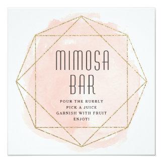 Watercolor-Imitat-Glitter Mimosen-Barzeichen Karte