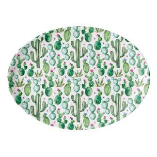 Watercolor-Kaktus-Pflanzen-Muster Porzellan Servierplatte