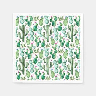 Watercolor-Kaktus-Pflanzen-Muster Serviette